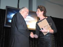 Being congratulated by Chair of Commerce Ballarat  Barbara O'Dwyer