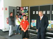 Bill Flynn and student discussing new classrooms